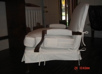 custom-white-denim-large-berger-chair-show-wood-ties