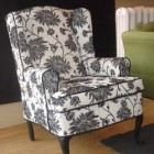 Custom Wing Chair Show Legs, Contrast Piping